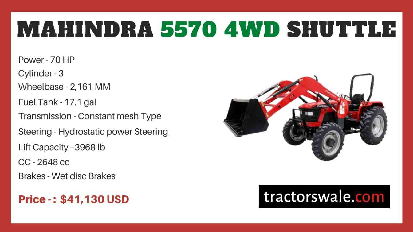 Mahindra 5570 4WD SHUTTLE price