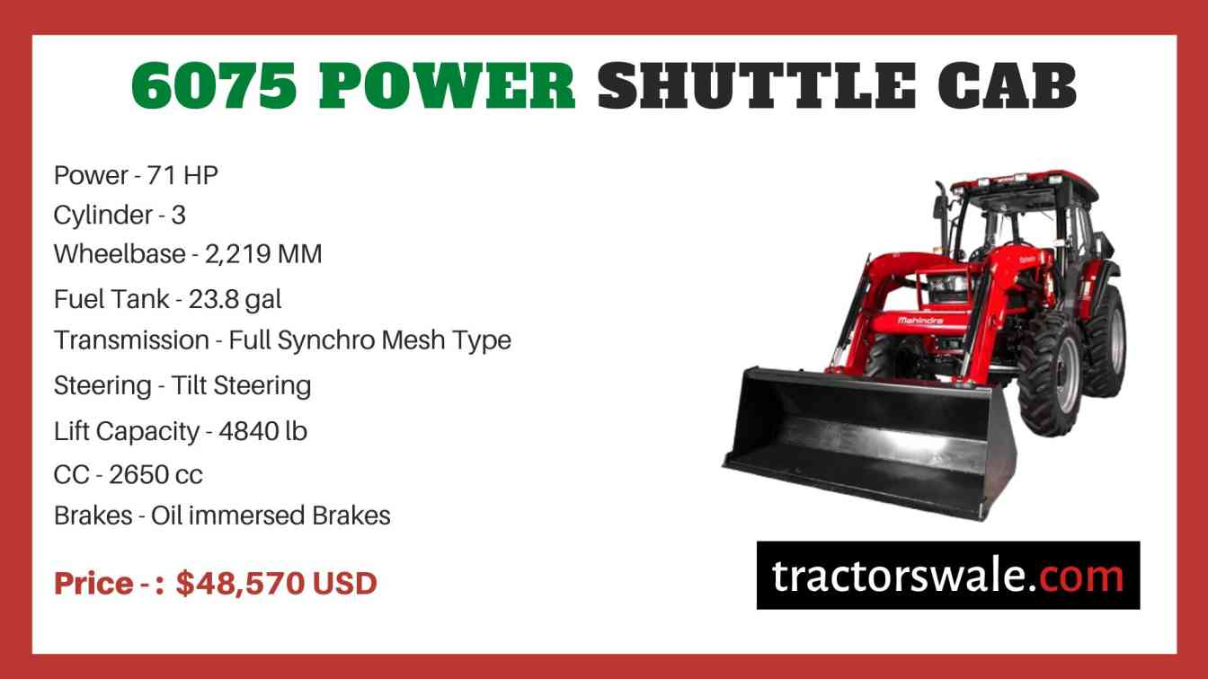 Mahindra 6075 POWER SHUTTLE CAB price