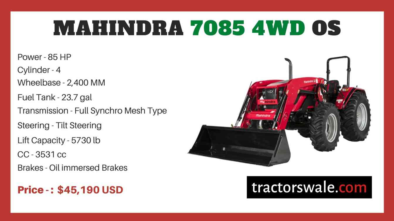 Mahindra 7085 4WD OS price