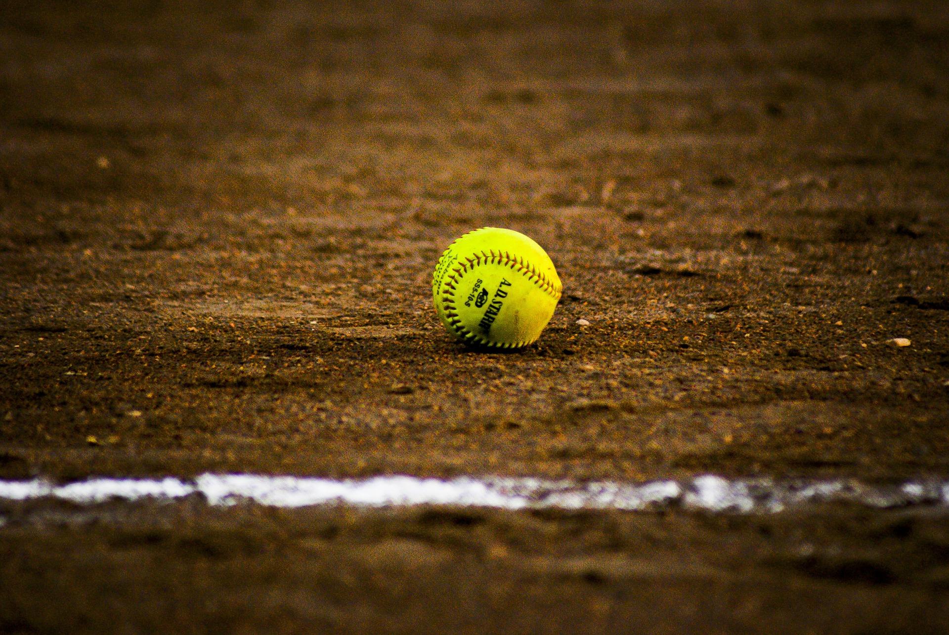 softball on a pitch