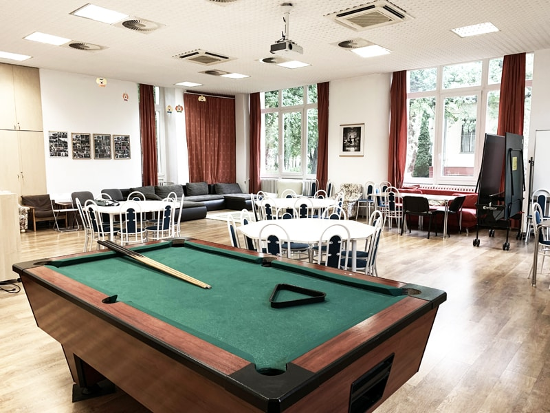Games room with table football, tv and pool table