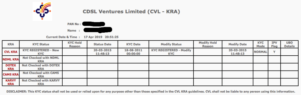 Input your PAN (permanent account number) in the CVL-KRA website and receive your KYC status immediately