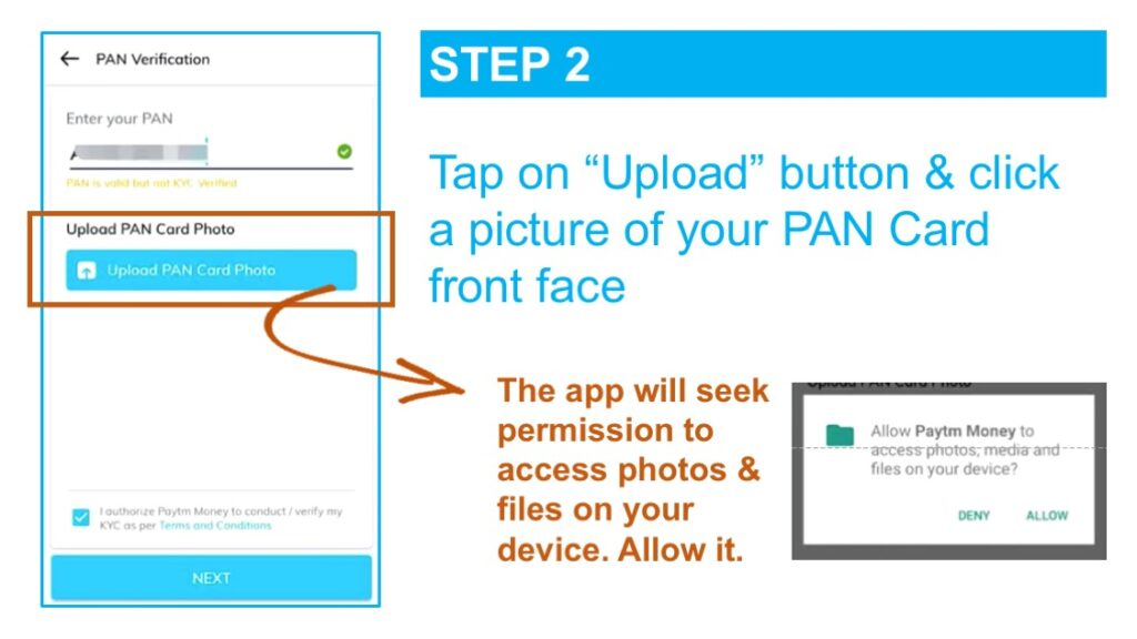 The KYC online process for users who are not investment-ready starts with the user uploading their PAN Card Photo