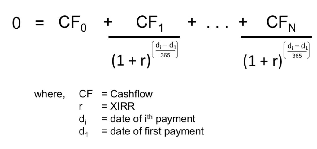 Formula for calculating XIRR