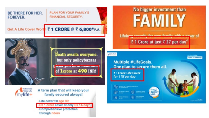 Most insurers and insurance distribute market term insurance plans around a premium for ₹1 crore catchphrase