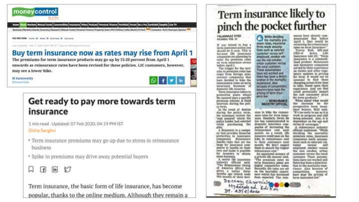 Major newspapers and online news networks have carried pieces of the potential increase in term insurance premiums