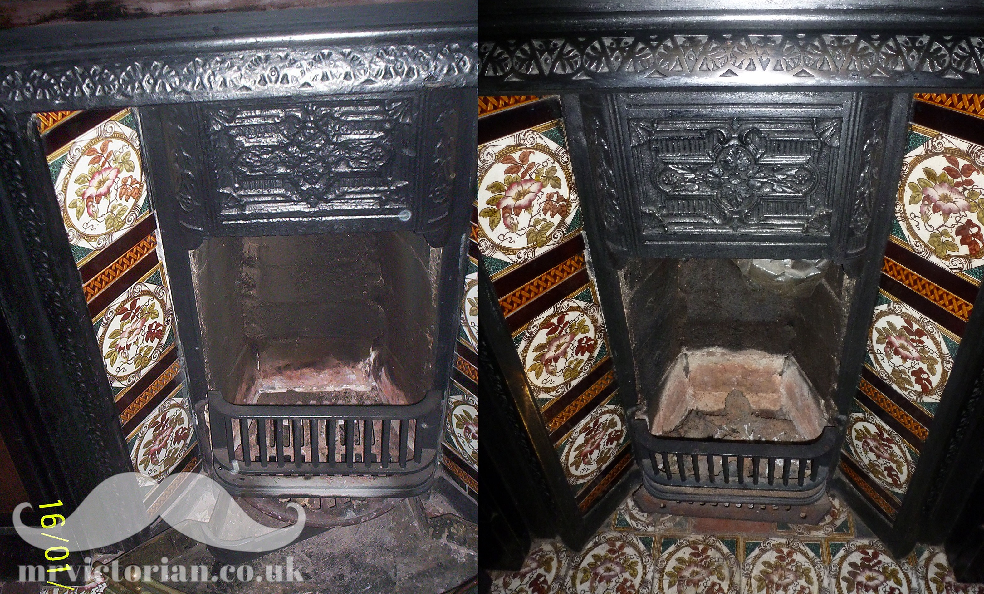 Restoring an iron fireplace Victorian cast fireplace before and after stripped painted black leaded