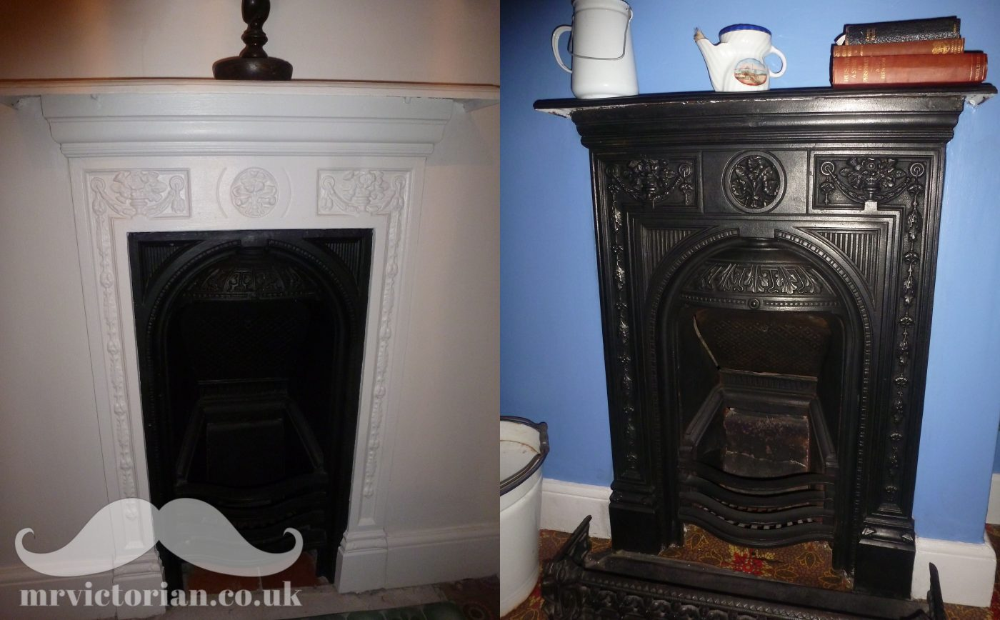 Victorian fireplace painted and not painted