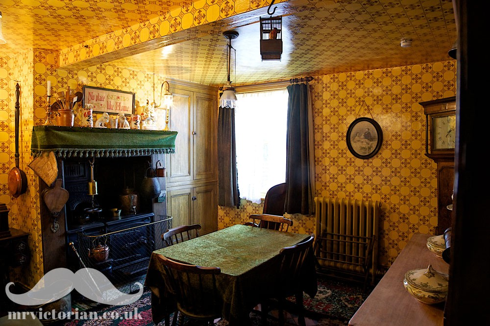 Victorian house tour kitchen with replica sanitary wallpaper. Visit www.mrvictorian.co.uk