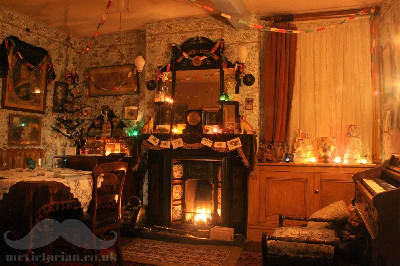 Victorian Christmas parlour decorations fairy lights feather tree ornaments gas lights wallpaper