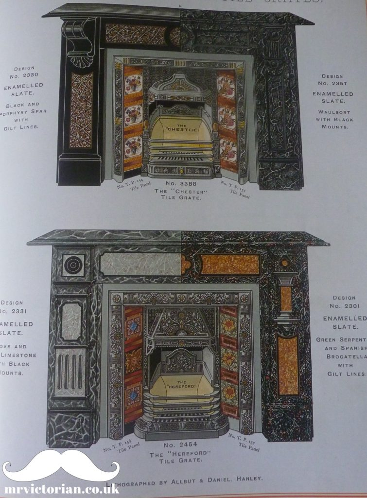 Marbling Victorian fireplace slate surround tiled marbleised
