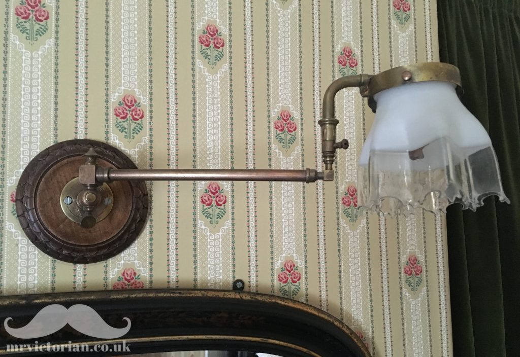 Antique lighting - Victorian upright gas light lamp with downlight convertor