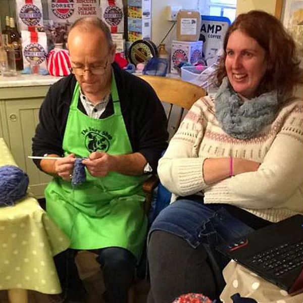 Knitting at the Dairy Shop