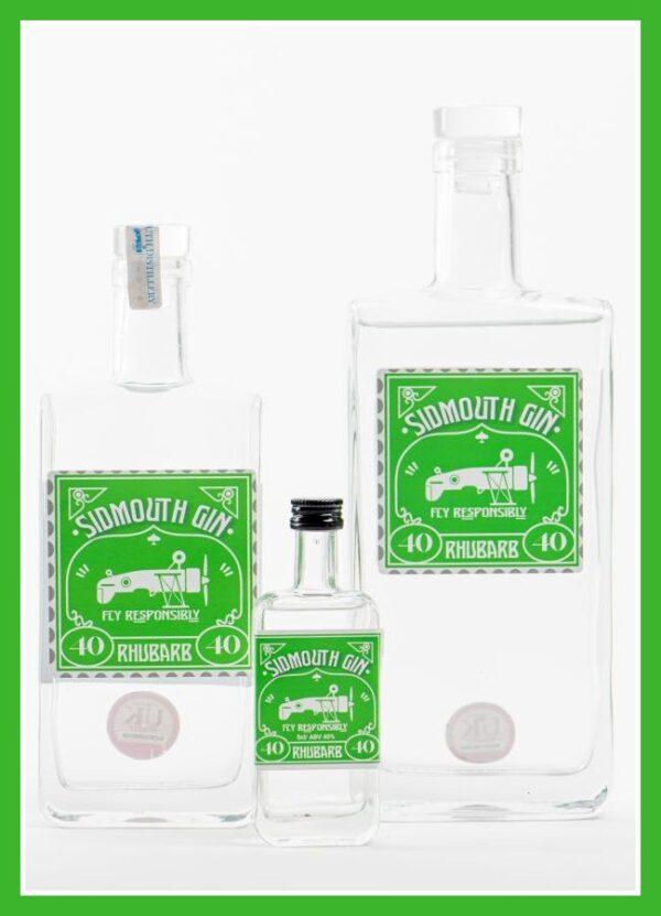 Rhubarb Sidmouth gin bottles