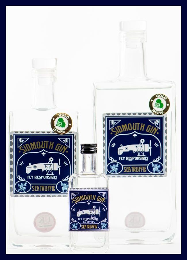 Sidmouth gin bottles - sea truffle