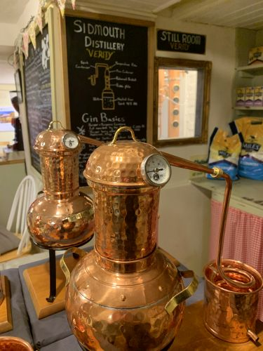 2 large gin stills in the cafe