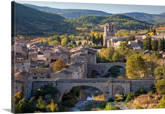 france-aude-pyrenees-a-view-of-lagrasse-village-surrounded-by-vines-in-autumn,2268381