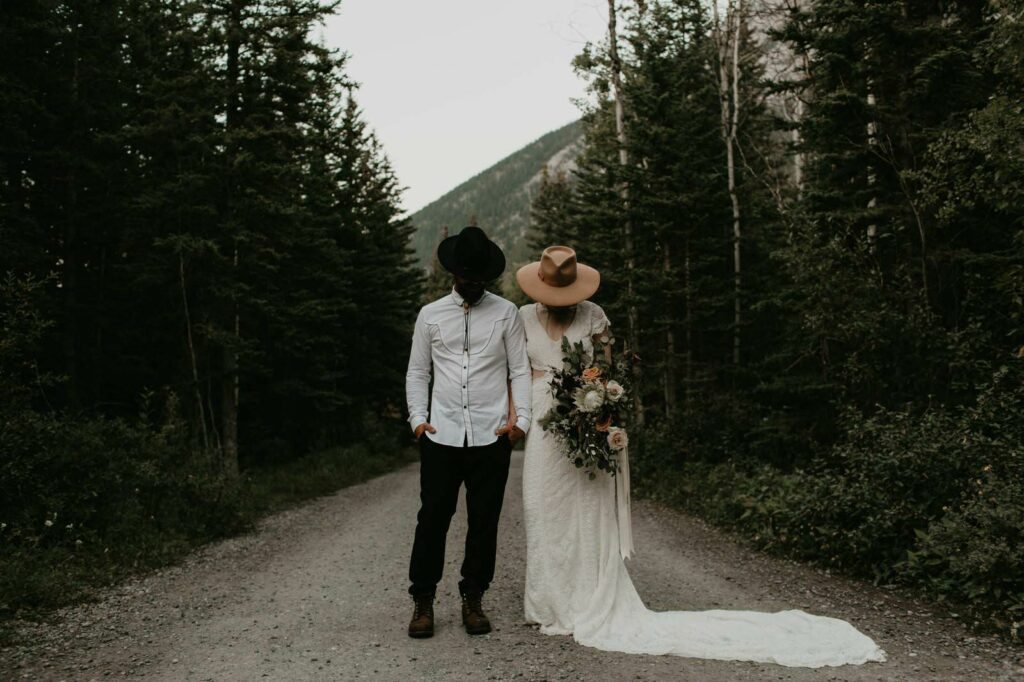 bohemian wedding elopement banff