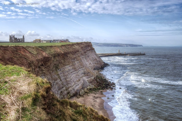 The Abbey on top of the coastal cliffs at Whitby.