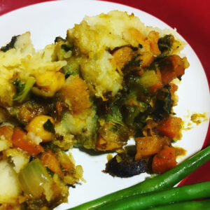 Spiced pumpkin and chickpea cottage pie