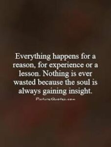 """A quote: """"Everything happens for a reason, for experience or a lesson. Nothing is ever wasted because the soul is always gaining insight."""""""