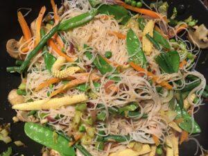 Stir-fried noodles and vegetables.