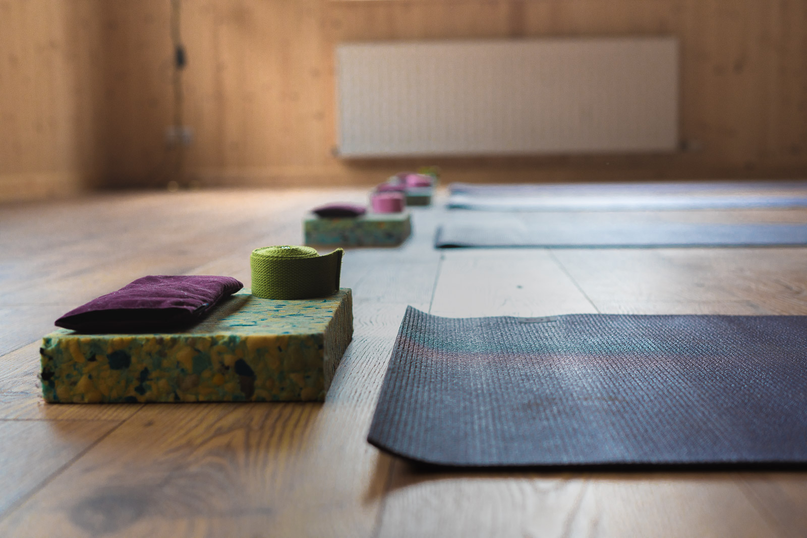 Yoga mats laid out in the Yogandspice Studio.