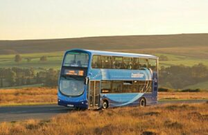A bus in the North York Moors countryside.