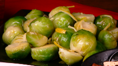 Brussel sprouts cooked with lemon and ginger.