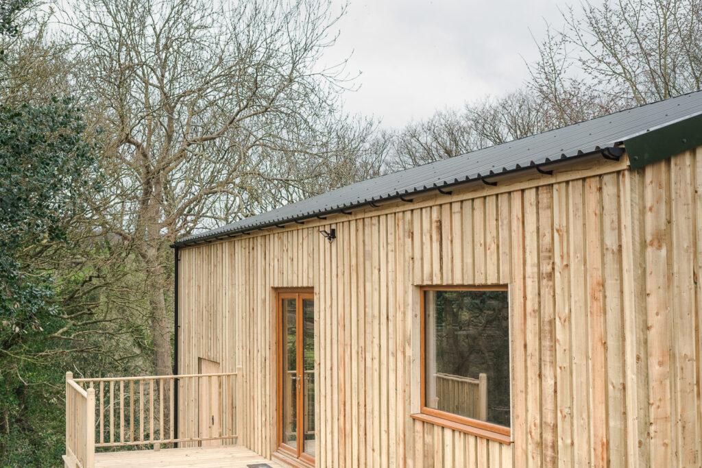 Purpose built wood clad yoga studio