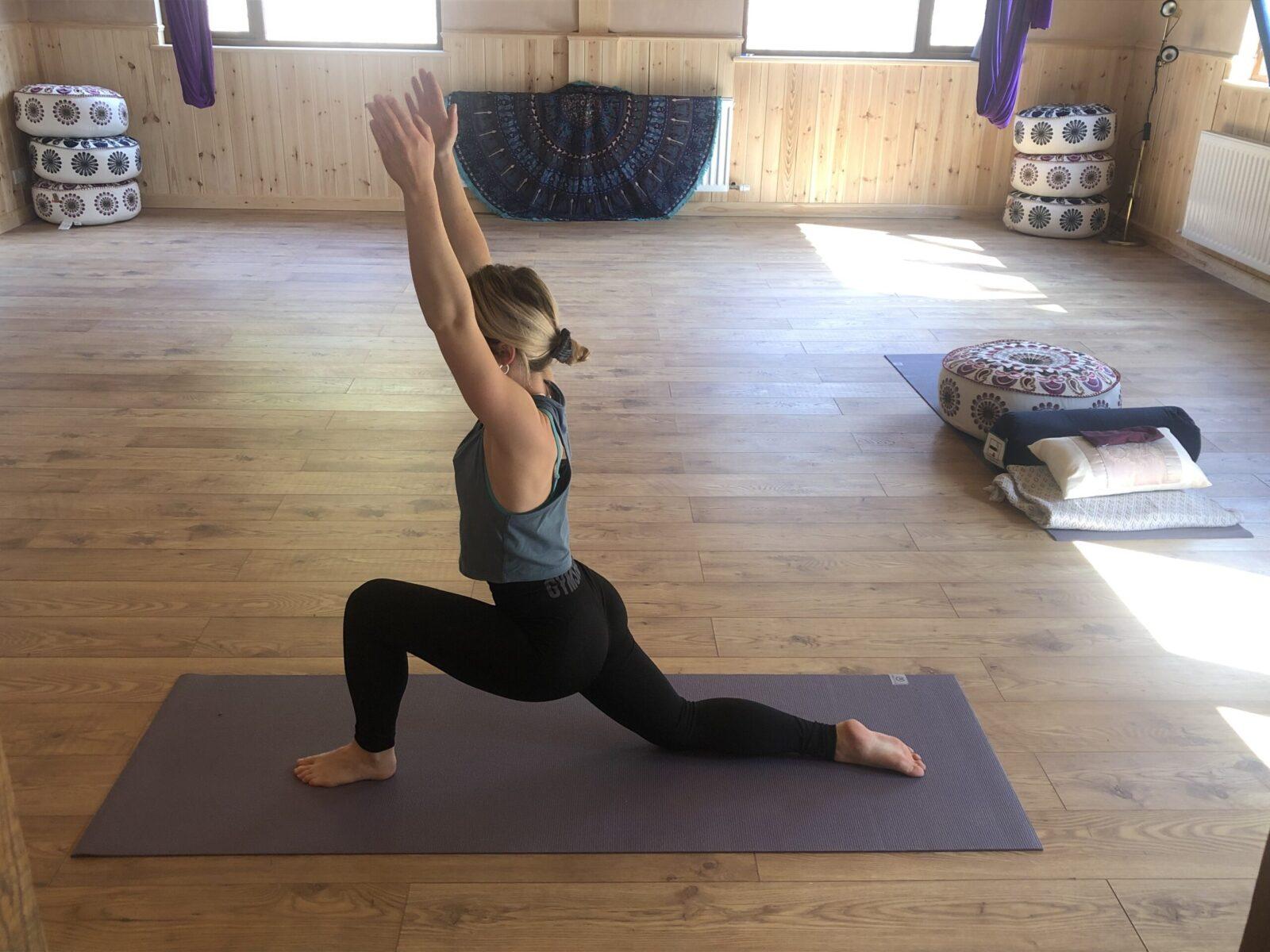 A yoga pose in the Yogandspice studio.