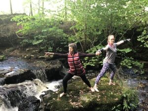 Yoga by the stream in our woodland.