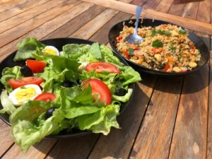 Salads prepared from our garden.