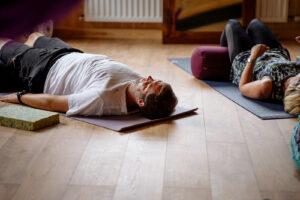 A yoga class in the Yogandspice Studio.