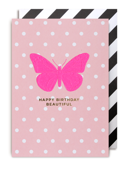 pink butterfly Lagom happy birthday beautiful funky quirky unusual modern cool card cards greetings greeting original classic wacky contemporary art illustration fun postco