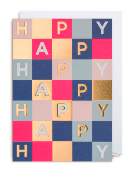 Lagom happy grid post funky quirky unusual modern cool card cards greetings greeting original classic wacky contemporary art illustration fun