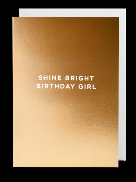gold lagom birthday girl shine bright postco funky quirky unusual modern cool card cards greetings greeting original classic wacky contemporary art illustration fun