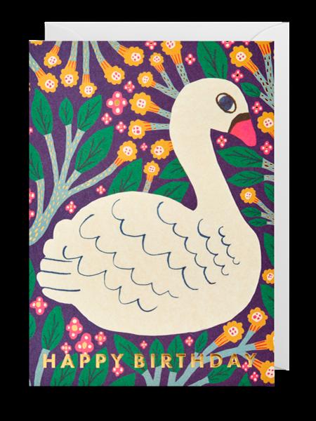 Lagom swan happy birthday Monika-forsberg funky quirky unusual modern cool card cards greetings greeting original classic wacky contemporary art illustration fun