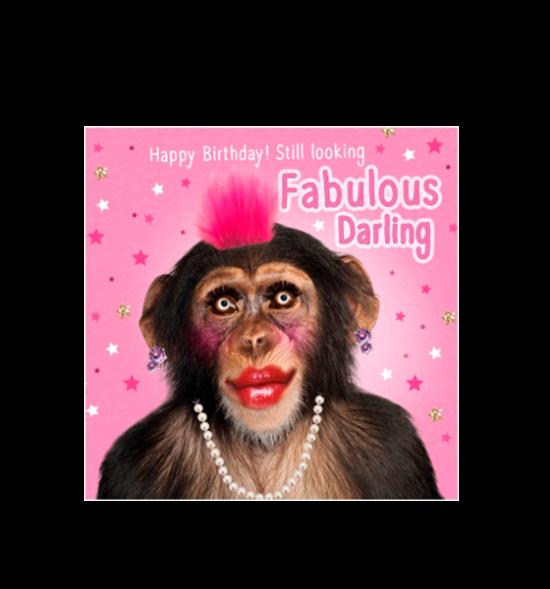 Birthday funky quirky unusual modern cool card cards greetings greeting original classic wacky contemporary art illustration fun vintage retro fluff googly eyes googlies tracks chimp monkey makeup