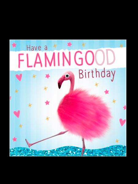 Birthday funky quirky unusual modern cool card cards greetings greeting original classic wacky contemporary art illustration fun vintage retro fluff googly eyes googlies tracks flamingo flamingood