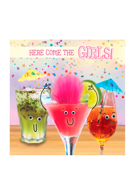 Birthday funky quirky unusual modern cool card cards greetings greeting original classic wacky contemporary art illustration fun vintage retro fluff googly eyes googlies tracks cocktails girls alcohol