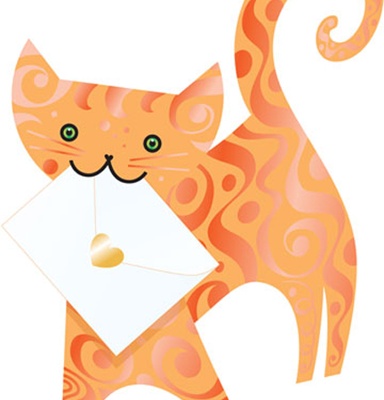 funky quirky unusual modern cool card cards greetings greeting original classic wacky contemporary art photographic fun vintage retro marmalade 3D cut-out cat special-delivery