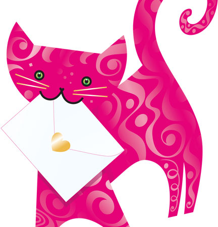 funky quirky unusual modern cool card cards greetings greeting original classic wacky contemporary art photographic fun vintage retro 3D cut-out special-delivery cat ruby