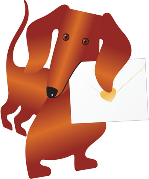 funky quirky unusual modern cool card cards greetings greeting original classic wacky contemporary art photographic fun vintage retro 3D cut-out special-delivery sausage-dog dog weeny daschund