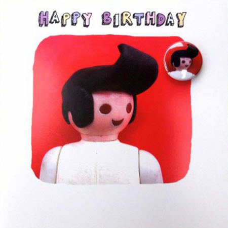funky quirky unusual modern cool card cards greetings greeting original classic wacky contemporary art illustration fun Lucy-mason Elvis badge birthday funny cute Lucy Mason