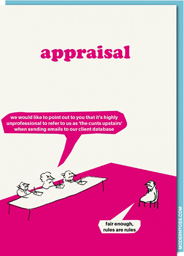 Birthday funky quirky unusual modern cool card cards greetings greeting original classic wacky contemporary art illustration fun vintage retro modern-toss swearing rude funny appraisal meeting work