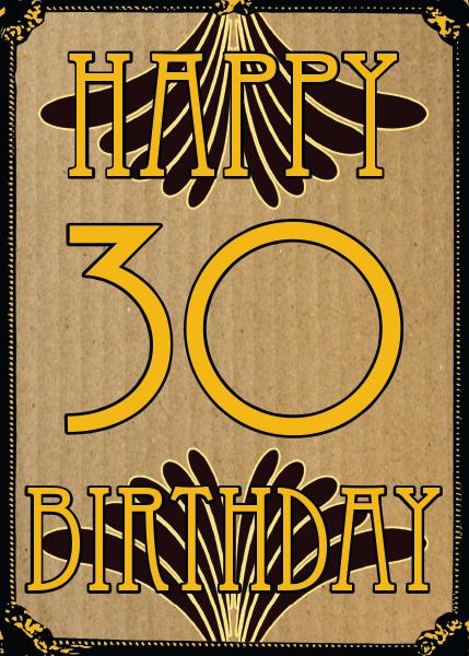 retro vintage birthday 30th thirtieth thirty Birthday funky quirky unusual modern cool card cards greetings greeting original classic wacky contemporary art illustration fun vintage retro malarkey Brighton 30 Malarkey-Cards