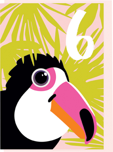 Birthday funky quirky unusual modern cool card cards greetings greeting original classic wacky contemporary art illustration fun vintage retro noi age sixth 6th 6 six kids toucan birthday