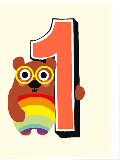 Birthday funky quirky unusual modern cool card cards greetings greeting original classic wacky contemporary art illustration fun vintage retro first 1st noi bear 1 one age rainbow kids cute birthday