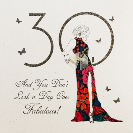 funky quirky unusual modern cool card cards greetings greeting original classic wacky contemporary art illustration fun vintage retro hand-finished handmade 30 30th thirtieth thirty birthday fabulous lady woman five-dollar-shake liberty-print